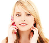 Happy girl with pink phone — Stock Photo