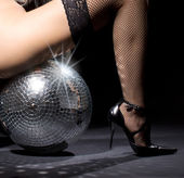 Dark glitterball dance — Stock Photo