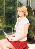 Office girl with laptop computer — Stock Photo
