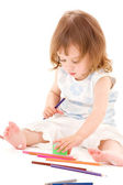 Little girl with color pencils — Stock Photo