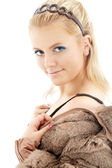 Lovely blond in fur jacket — Stock Photo