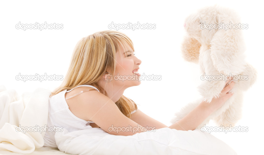 Picture of teenage girl with plush toy — Stock Photo #11770522