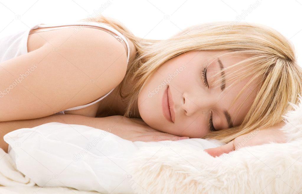 睡觉的女孩 - 图库图片