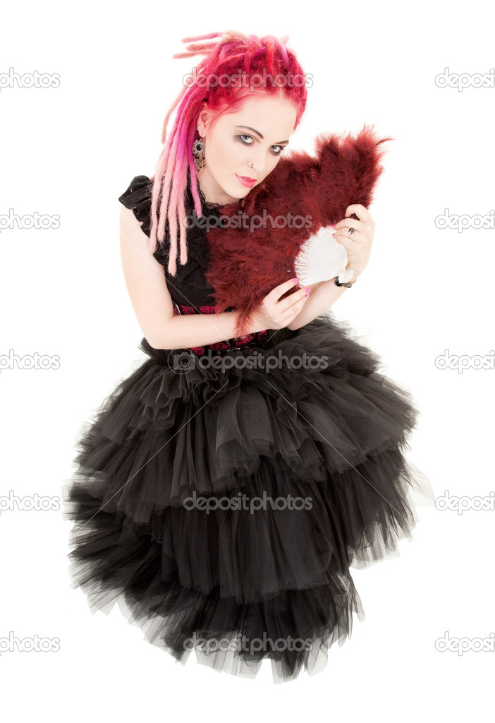 Picture of bizarre pink hair girl with fan — Stock Photo #11772623