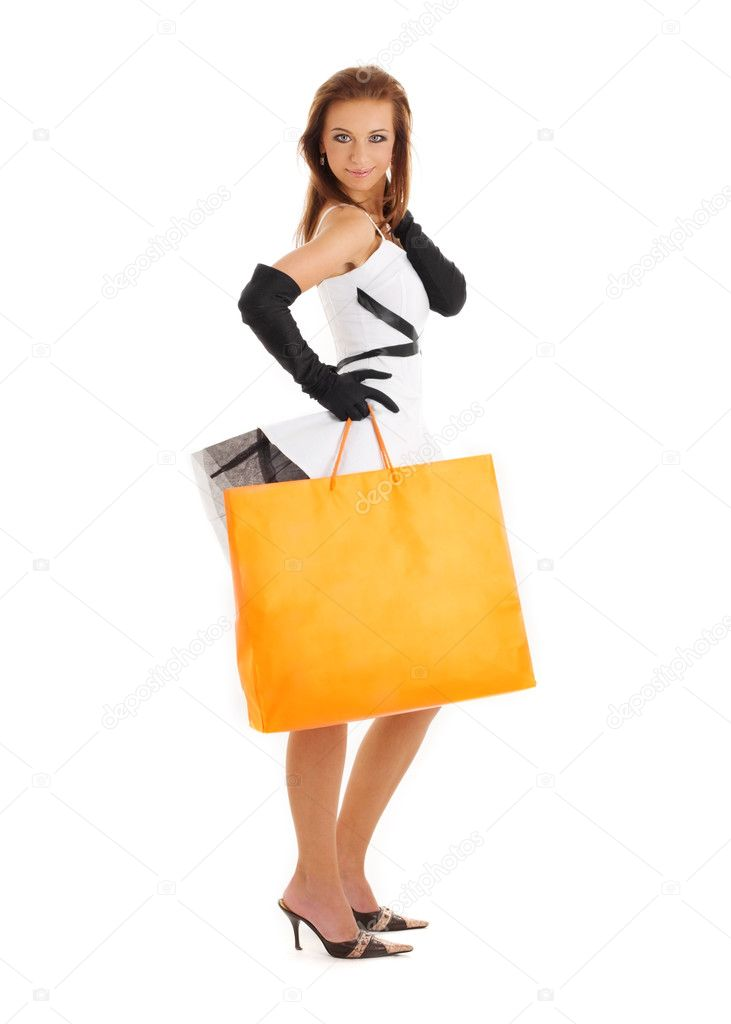 Picture of pretty woman with big shopping bag — Stock Photo #11772817