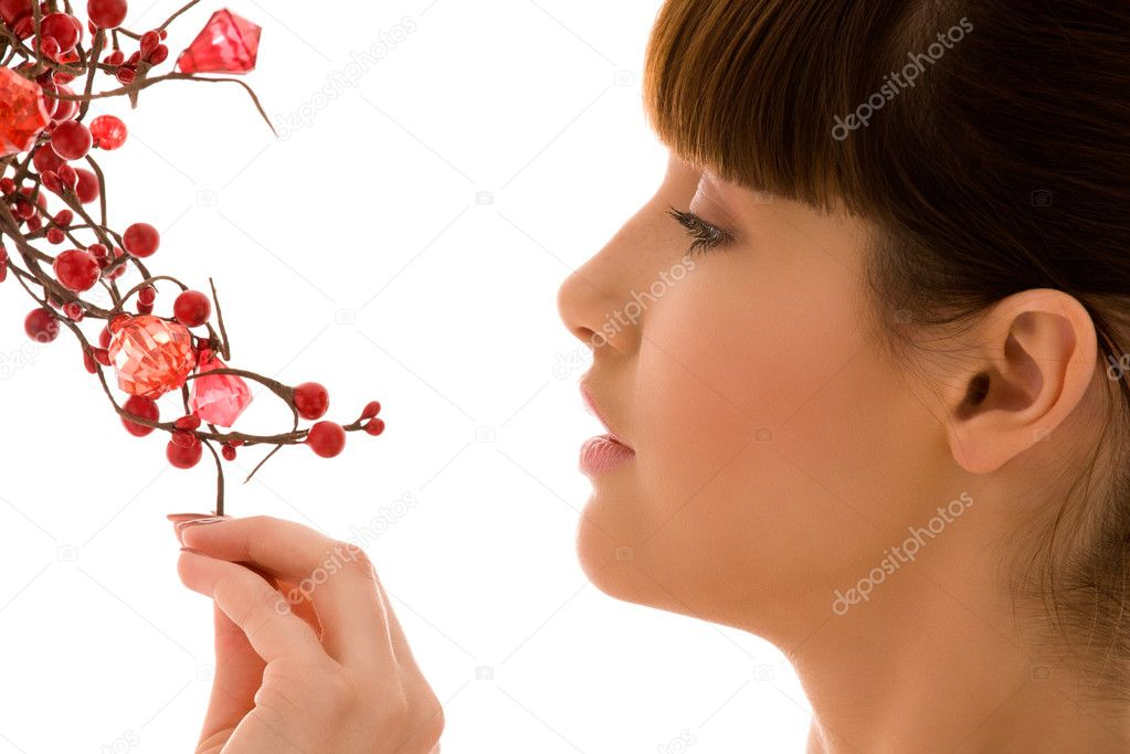 Portrait of lovely woman with red ashberry — Stock Photo #11772885
