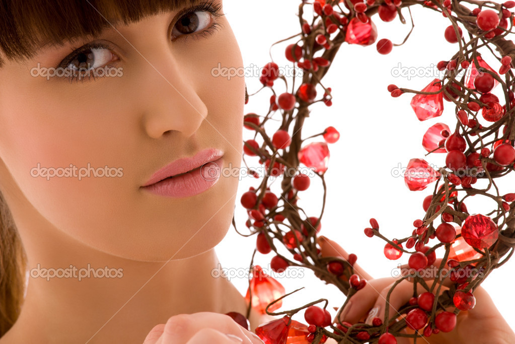 Portrait of lovely woman with red ashberry — Stock Photo #11773113