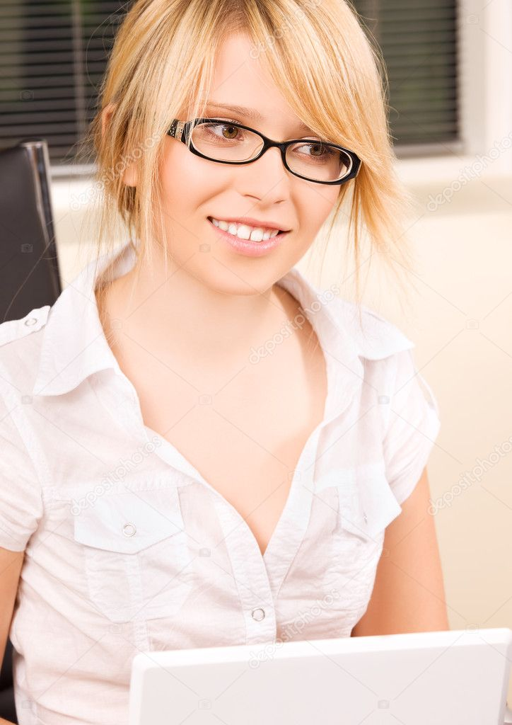 Picture of office girl with laptop computer  Stock Photo #11775023
