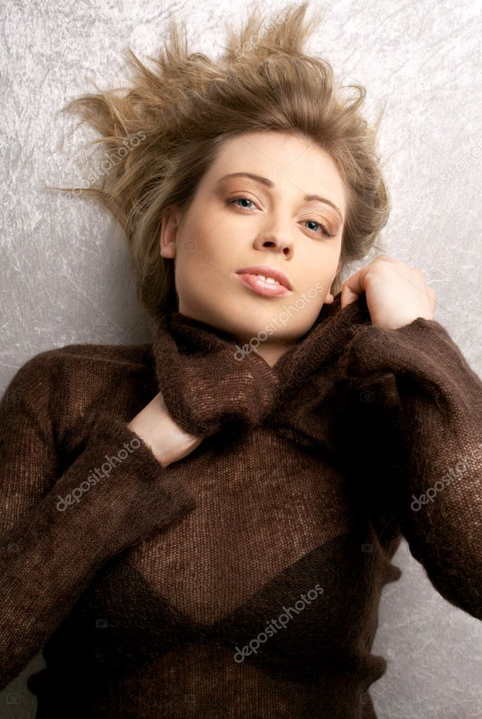 Provocative portrait of lovely lady in brown sweater  Stock Photo #11775026