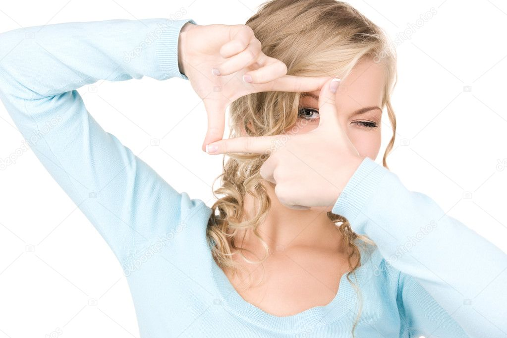 Bright picture of lovely blonde creating a frame with fingers  Stock Photo #11776416