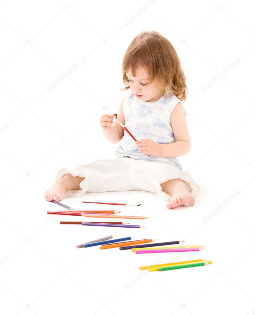 Picture of little girl with color pencils over white  Stock Photo #11776475
