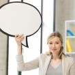 Smiling businesswoman with blank text bubble — Stock Photo #11839665