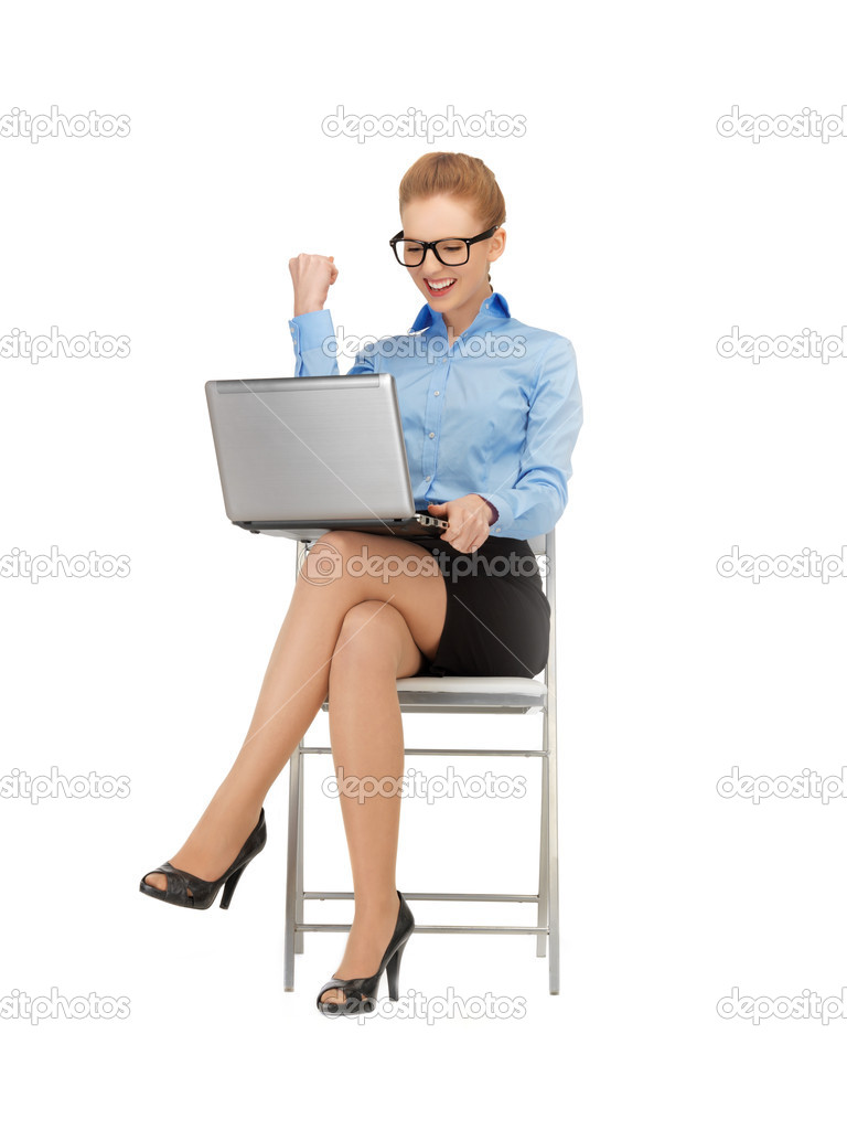 Business woman with expression of tryumph in specs — Stock Photo #11839501