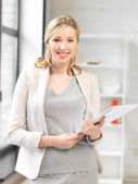 Happy woman with documents — Stock Photo