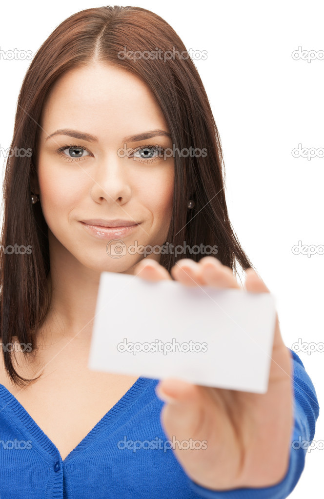 Picture of attractive businesswoman with business card  Stock Photo #12091744