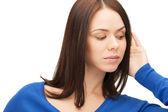 Serious woman listening gossip — Stock Photo