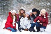 Teenagers in a winter park — Stock Photo