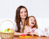 Playing with Easter bunny — Stockfoto