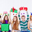 Teens with presents — Stock Photo