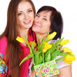 Woman greeting her mother - Stock Photo