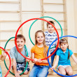 Kids with hula hoops — Stock Photo