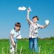 Brothers in the green field — Stock Photo