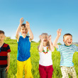 Excited soaked kids - Stock Photo