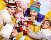 Kids in scarves and hats — Stock Photo