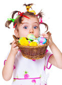 Surprised Easter kid — Stock Photo