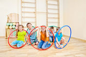 Playing with hula hoops — Stock Photo
