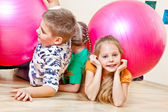 Children with gymnastic balls — Stock Photo
