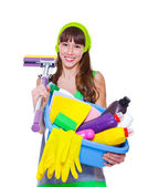 Teen with detergents and mop — Stock Photo