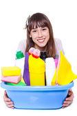 清洁剂的女孩 — 图库照片