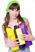 Teen with detergents — Stock Photo