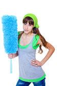Dívka hospodářství duster — Stock fotografie