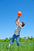 Boy catching a ball — Stock Photo