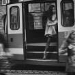 Nude woman in tram — Stock Photo #11703591