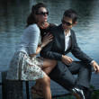 Young couple with sunglasses — Foto de Stock