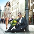 Young couple with sunglasses — Stock Photo #11707608