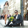 Young couple with sunglasses — Stock Photo