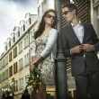 Adorable couple on the middle of a promenade — Stock Photo