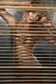 Sarışın güzel kadın iç çamaşırı — Stok fotoğraf