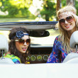 Smiling women in a cabrio — Stock Photo