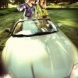 Stock Photo: Smiling women in a cabriolet
