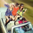 Young having fun in cabriolet — Stock Photo