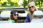 Smiling women in a cabrio — Foto de Stock