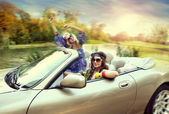 Smiling women in a cabriolet — Stockfoto