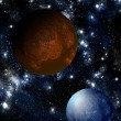 Blue planet with red moon — Stock Photo #10765099