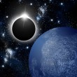 Eclipse and planet in deep space - Stock Photo