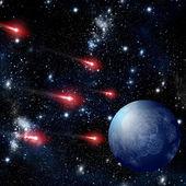 Comet flying to planet in deep space — Stock fotografie